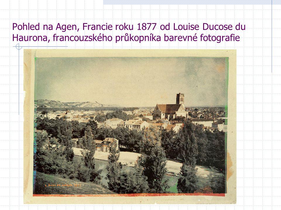 Pohled na Agen, Francie roku 1877 od Louise Ducose du Haurona, francouzského průkopníka barevné fotografie