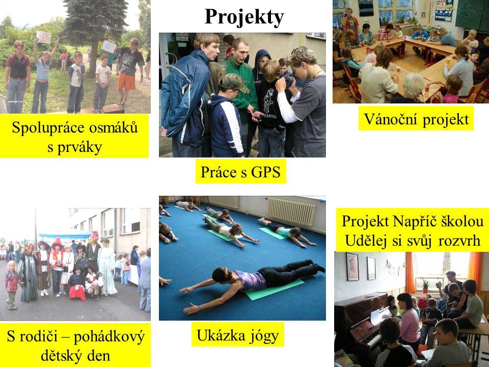 Projekty Spolupráce osmáků s prváky S rodiči – pohádkový dětský den Vánoční projekt Projekt Napříč školou Udělej si svůj rozvrh Práce s GPS Ukázka jógy