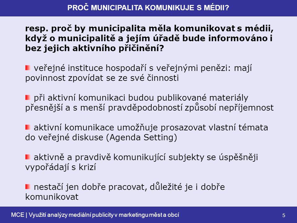 MCE | Využití analýzy mediální publicity v marketingu měst a obcí 6 PROČ MUNICIPALITA KOMUNIKUJE S MÉDII.