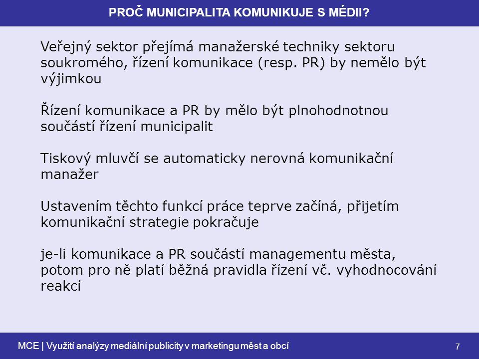 MCE | Využití analýzy mediální publicity v marketingu měst a obcí 7 PROČ MUNICIPALITA KOMUNIKUJE S MÉDII.