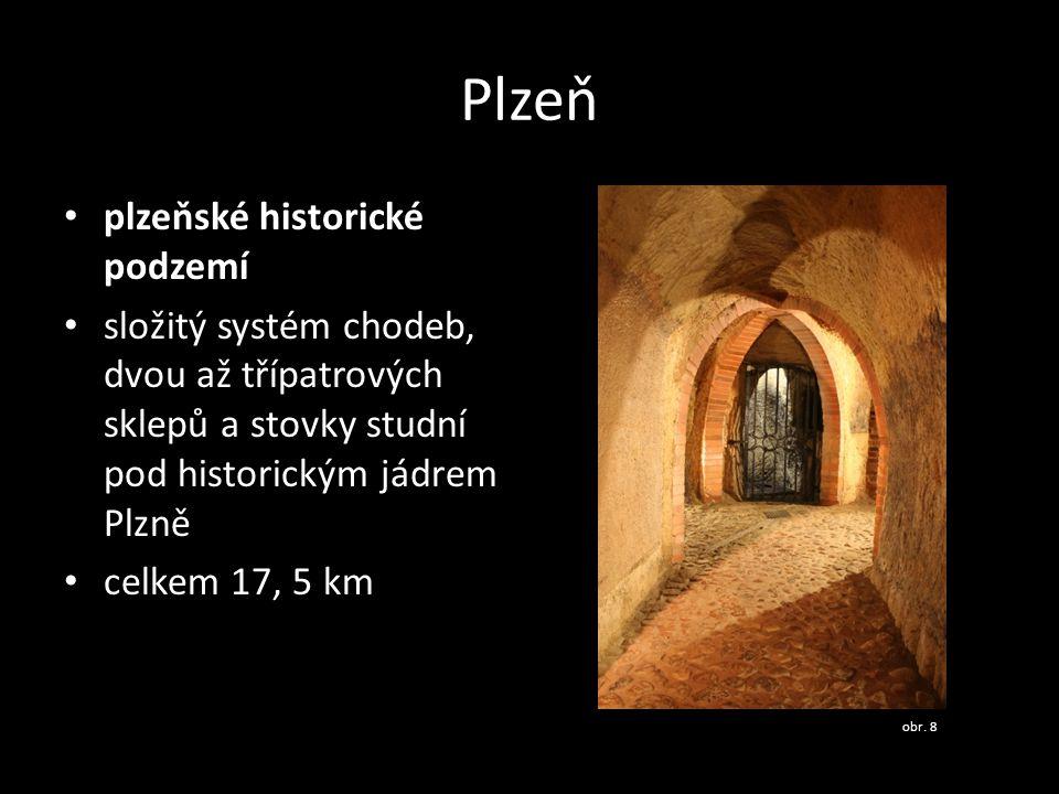 Plzeň plzeňské historické podzemí složitý systém chodeb, dvou až třípatrových sklepů a stovky studní pod historickým jádrem Plzně celkem 17, 5 km obr.