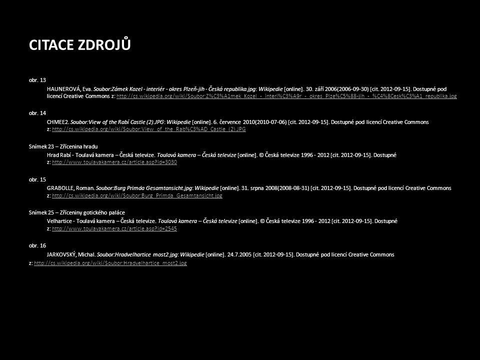 CITACE ZDROJŮ obr. 13 HAUNEROVÁ, Eva. Soubor:Zámek Kozel - interiér - okres Plzeň-jih - Česká republika.jpg: Wikipedie [online]. 30. září 2006(2006-09