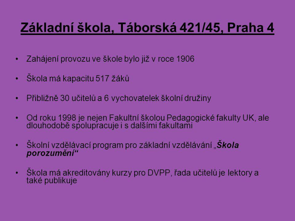Základní škola, Táborská 421/45, Praha 4 Zahájení provozu ve škole bylo již v roce 1906 Škola má kapacitu 517 žáků Přibližně 30 učitelů a 6 vychovatel