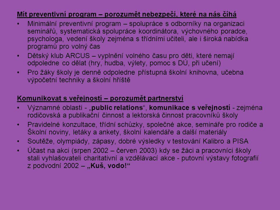 Mít preventivní program – porozumět nebezpečí, které na nás číhá Minimální preventivní program – spolupráce s odborníky na organizaci seminářů, system