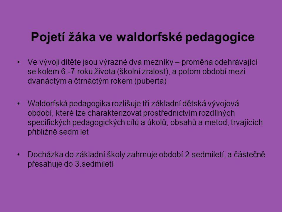 Pojetí žáka ve waldorfské pedagogice Ve vývoji dítěte jsou výrazné dva mezníky – proměna odehrávající se kolem 6.-7.roku života (školní zralost), a po