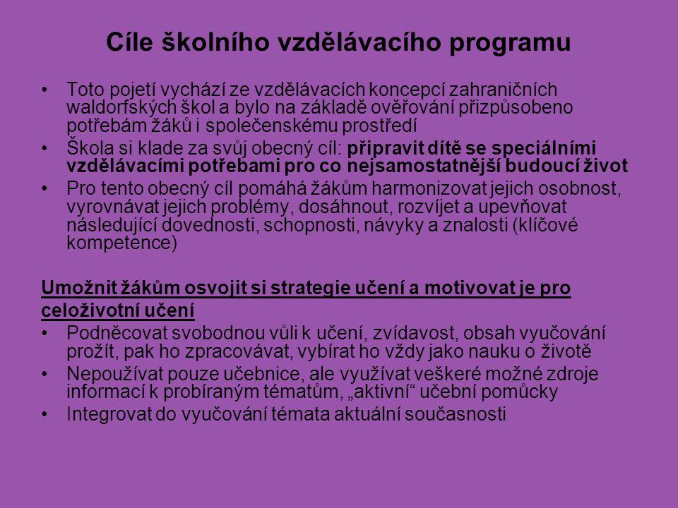 Cíle školního vzdělávacího programu Toto pojetí vychází ze vzdělávacích koncepcí zahraničních waldorfských škol a bylo na základě ověřování přizpůsobe