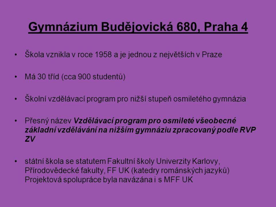 Gymnázium Budějovická 680, Praha 4 Škola vznikla v roce 1958 a je jednou z největších v Praze Má 30 tříd (cca 900 studentů) Školní vzdělávací program