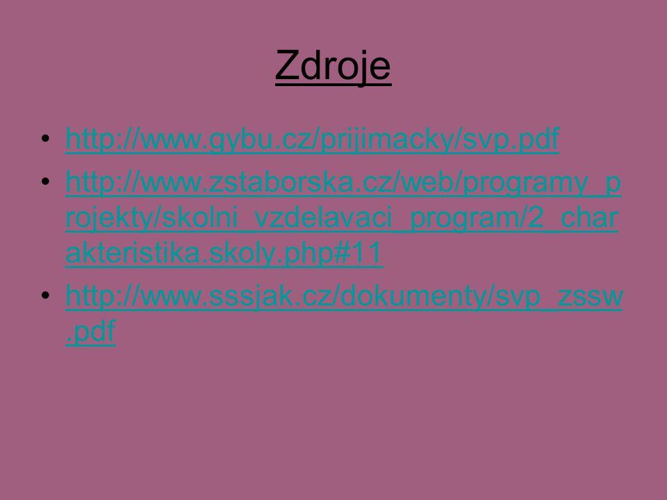 Zdroje http://www.gybu.cz/prijimacky/svp.pdf http://www.zstaborska.cz/web/programy_p rojekty/skolni_vzdelavaci_program/2_char akteristika.skoly.php#11