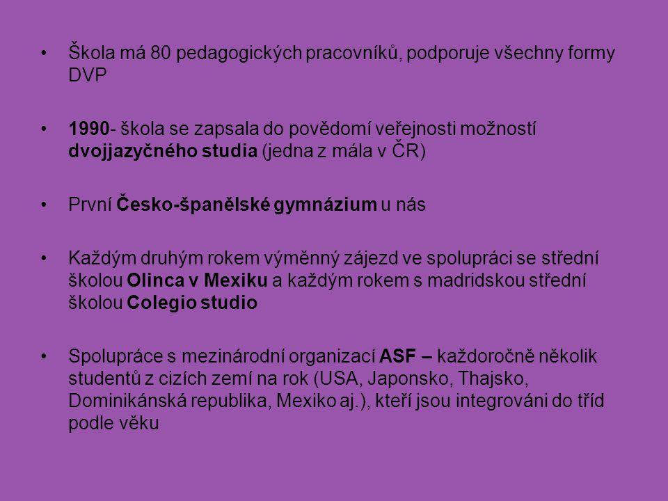 Škola má 80 pedagogických pracovníků, podporuje všechny formy DVP 1990- škola se zapsala do povědomí veřejnosti možností dvojjazyčného studia (jedna z