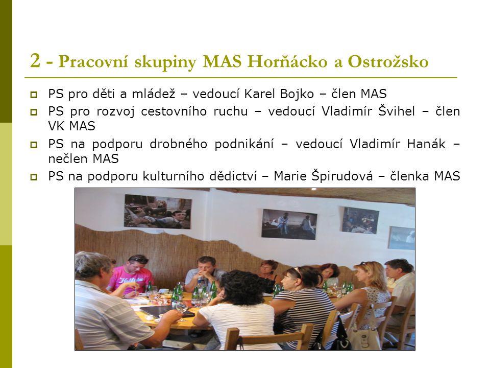 2 - Pracovní skupiny MAS Horňácko a Ostrožsko  PS pro děti a mládež – vedoucí Karel Bojko – člen MAS  PS pro rozvoj cestovního ruchu – vedoucí Vladi