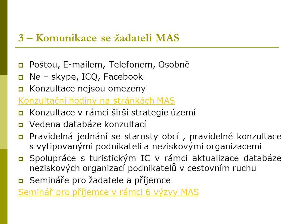 3 – Komunikace se žadateli MAS  Poštou, E-mailem, Telefonem, Osobně  Ne – skype, ICQ, Facebook  Konzultace nejsou omezeny Konzultační hodiny na str