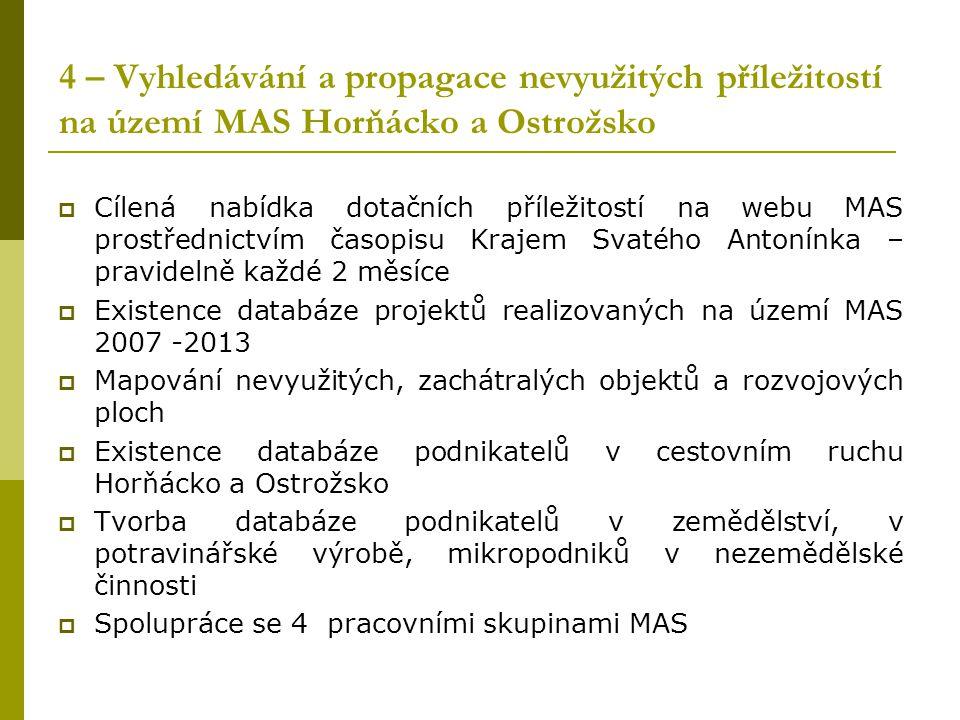 4 – Vyhledávání a propagace nevyužitých příležitostí na území MAS Horňácko a Ostrožsko  Cílená nabídka dotačních příležitostí na webu MAS prostřednic