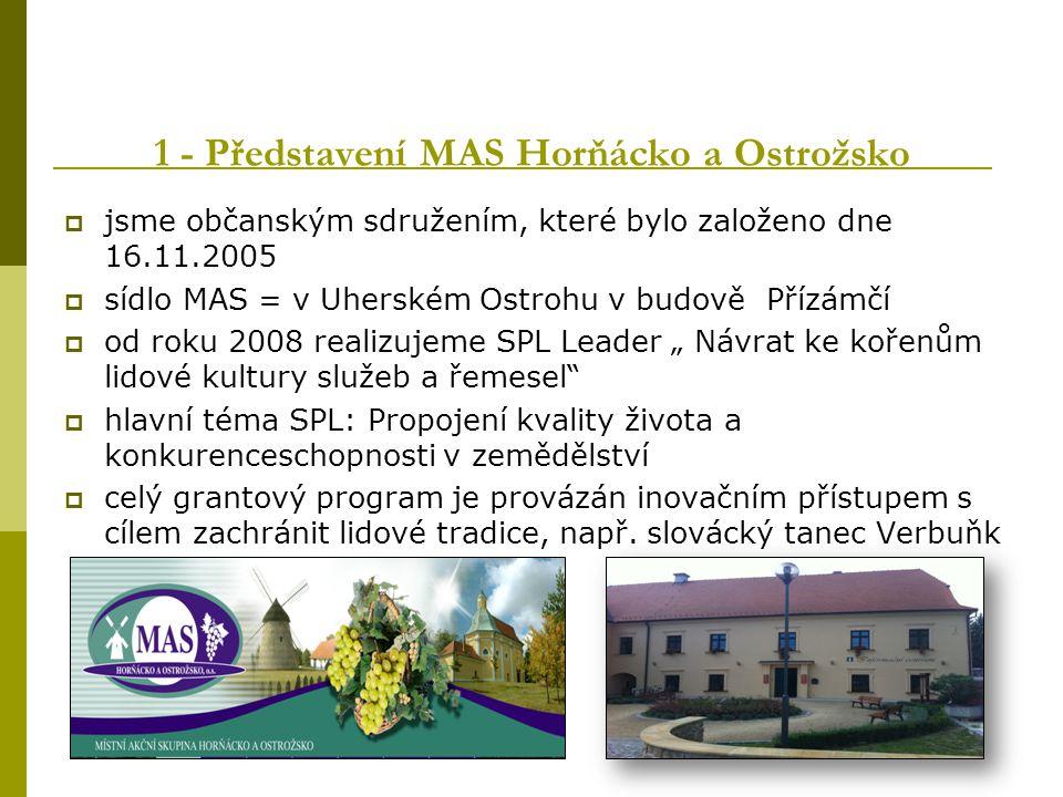1 - Představení MAS Horňácko a Ostrožsko  jsme občanským sdružením, které bylo založeno dne 16.11.2005  sídlo MAS = v Uherském Ostrohu v budově Příz