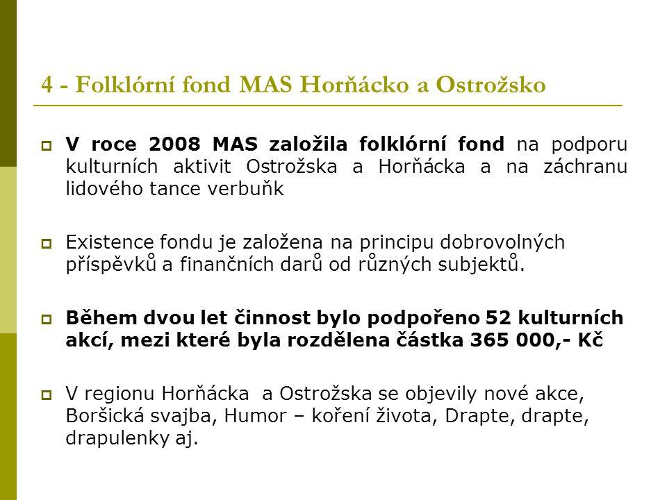 4 - Folklórní fond MAS Horňácko a Ostrožsko  V roce 2008 MAS založila folklórní fond na podporu kulturních aktivit Ostrožska a Horňácka a na záchranu