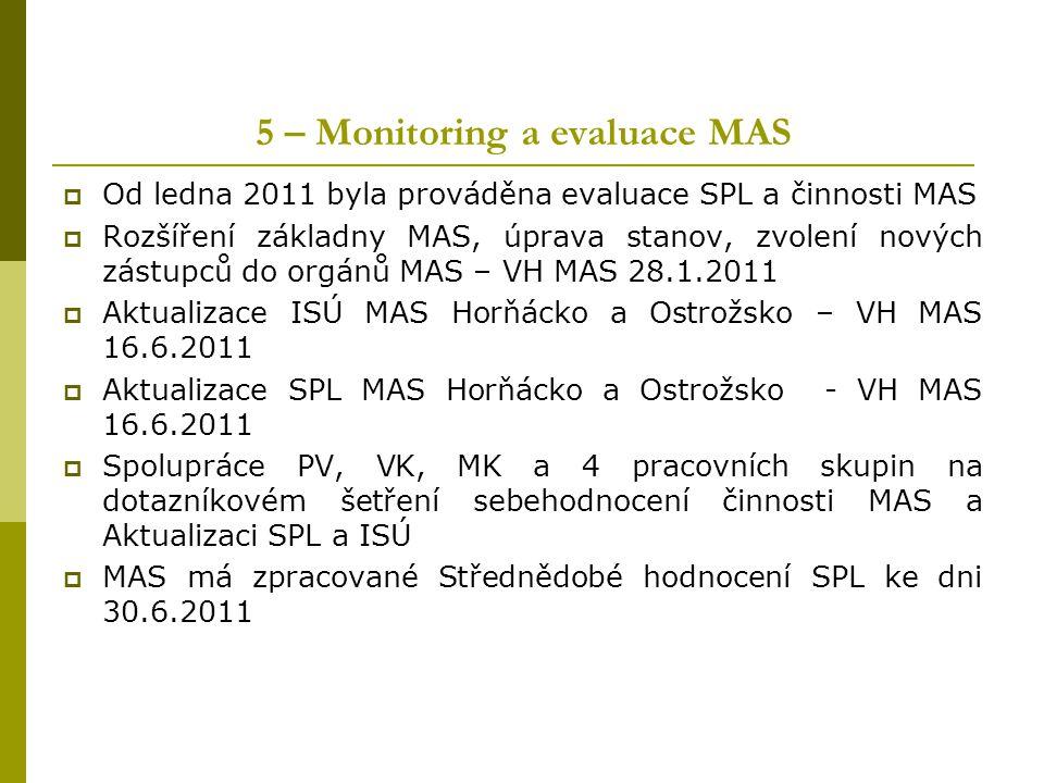 5 – Monitoring a evaluace MAS  Od ledna 2011 byla prováděna evaluace SPL a činnosti MAS  Rozšíření základny MAS, úprava stanov, zvolení nových zástu