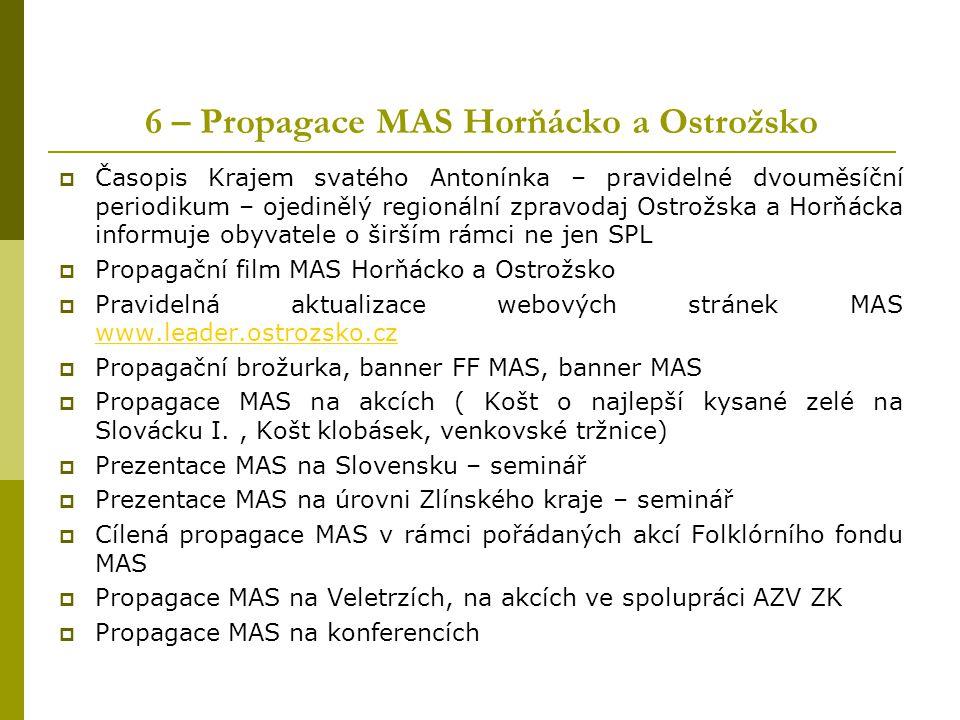 6 – Propagace MAS Horňácko a Ostrožsko  Časopis Krajem svatého Antonínka – pravidelné dvouměsíční periodikum – ojedinělý regionální zpravodaj Ostrožs