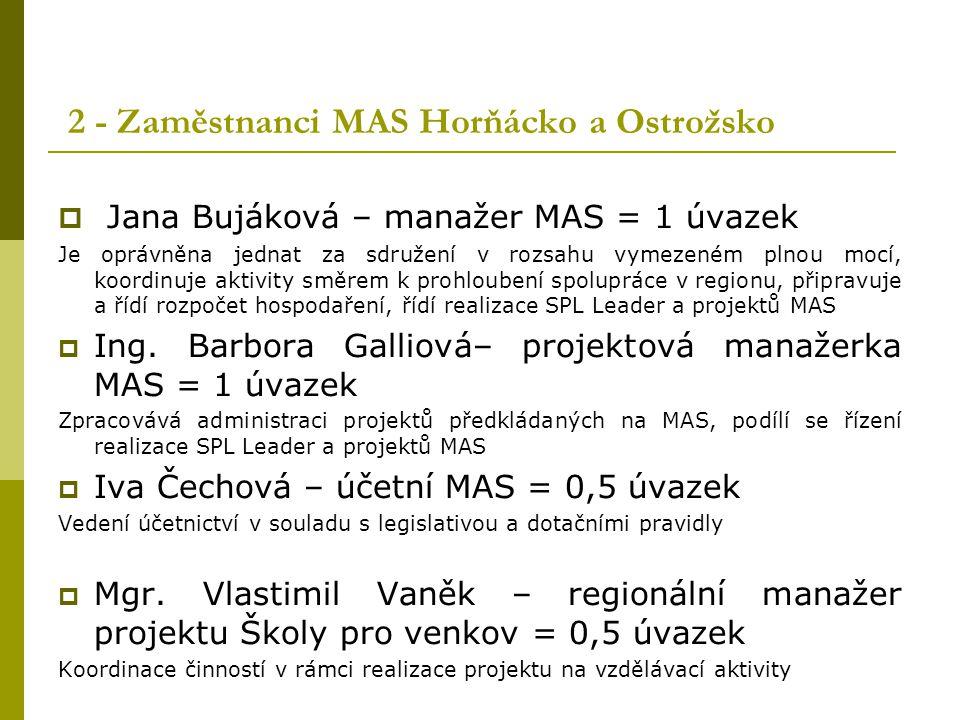 2 - Zaměstnanci MAS Horňácko a Ostrožsko  Jana Bujáková – manažer MAS = 1 úvazek Je oprávněna jednat za sdružení v rozsahu vymezeném plnou mocí, koor