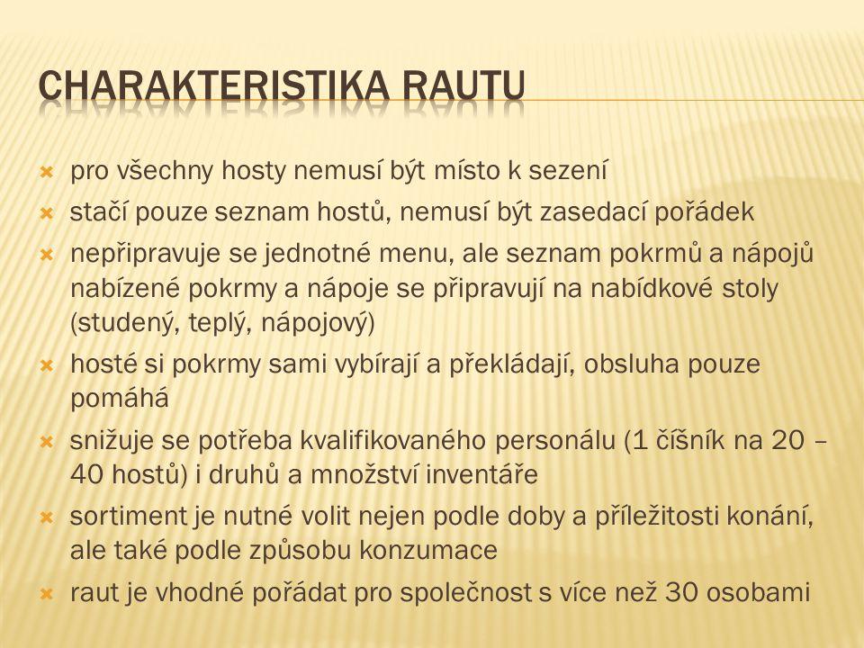  pro všechny hosty nemusí být místo k sezení  stačí pouze seznam hostů, nemusí být zasedací pořádek  nepřipravuje se jednotné menu, ale seznam pokr
