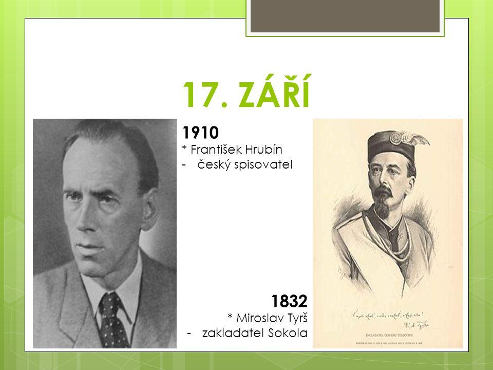 19. ZÁŘÍ 1922 * Emil Zátopek -český atlet -čtyřnásobný vítěz ve vytrvalostním běhu