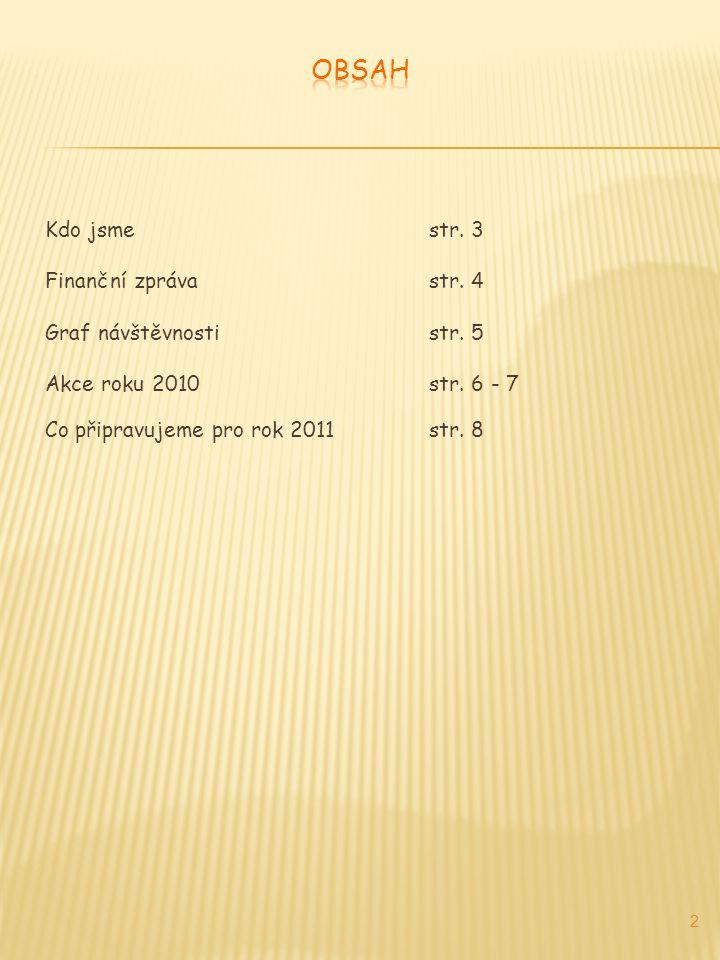 Kdo jsmestr. 3 Finanční zprávastr. 4 Graf návštěvnostistr. 5 Akce roku 2010str. 6 - 7 Co připravujeme pro rok 2011str. 8 2