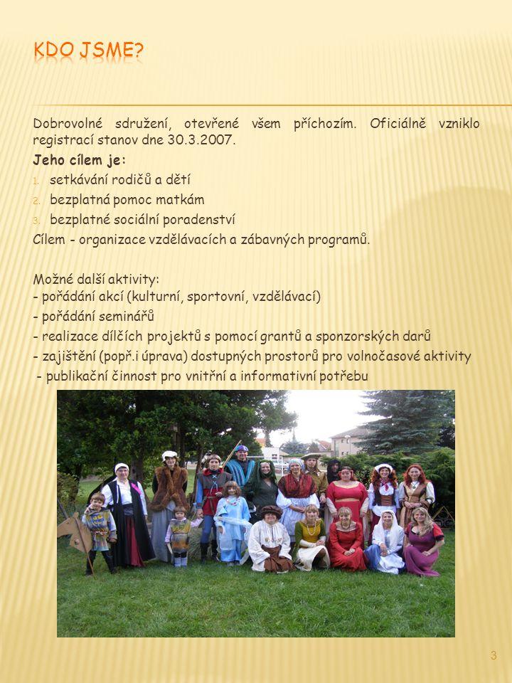 Dobrovolné sdružení, otevřené všem příchozím. Oficiálně vzniklo registrací stanov dne 30.3.2007. Jeho cílem je: 1. setkávání rodičů a dětí 2. bezplatn