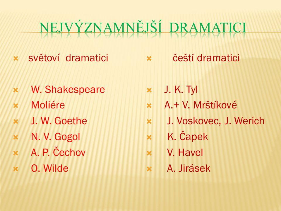  světoví dramatici  W. Shakespeare  Moliére  J.