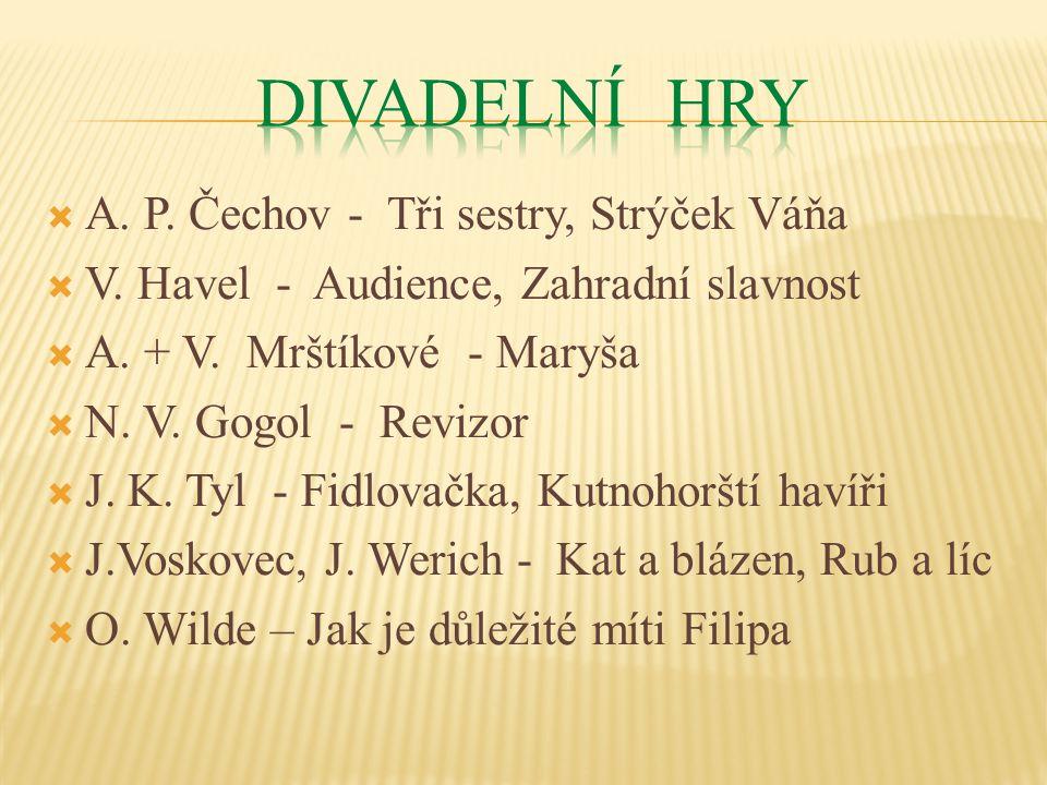  A. P. Čechov - Tři sestry, Strýček Váňa  V. Havel - Audience, Zahradní slavnost  A.