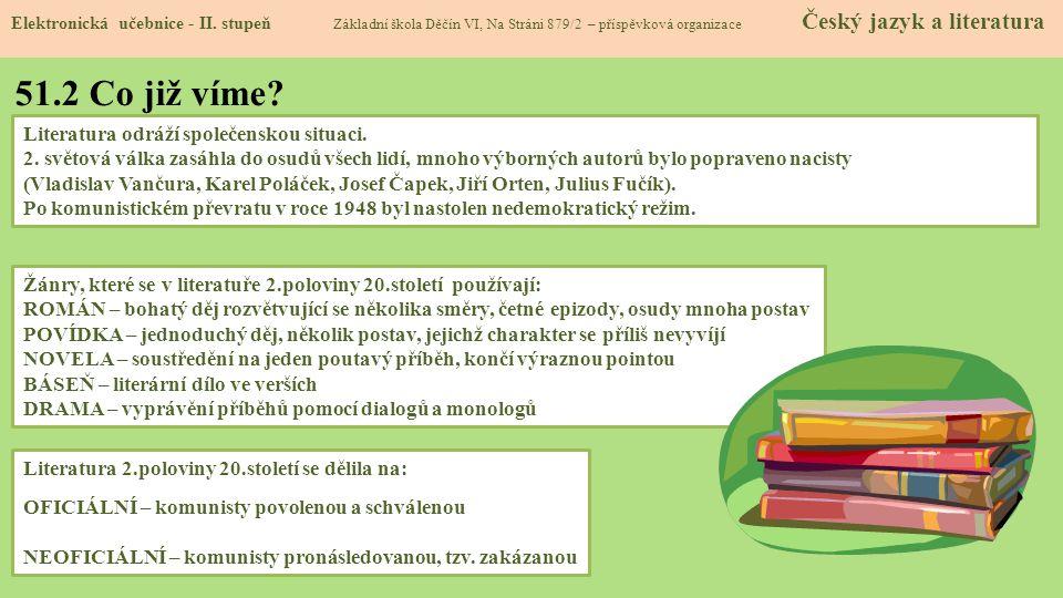 51.1 Česká literatura 2.poloviny 20.století Elektronická učebnice - II.
