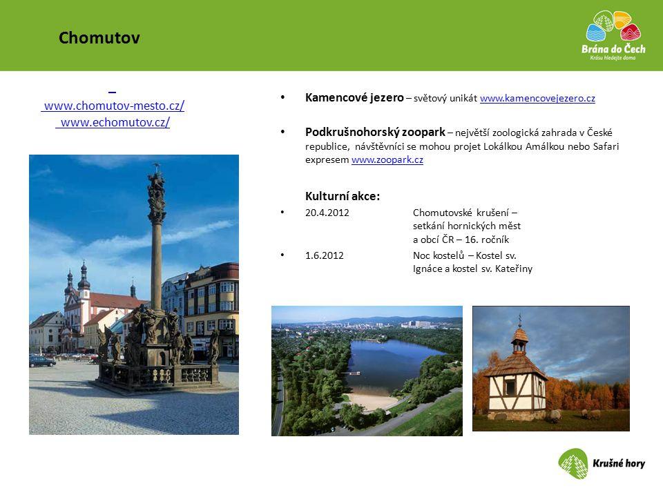 Chomutov Kamencové jezero – světový unikát www.kamencovejezero.czwww.kamencovejezero.cz Podkrušnohorský zoopark – největší zoologická zahrada v České