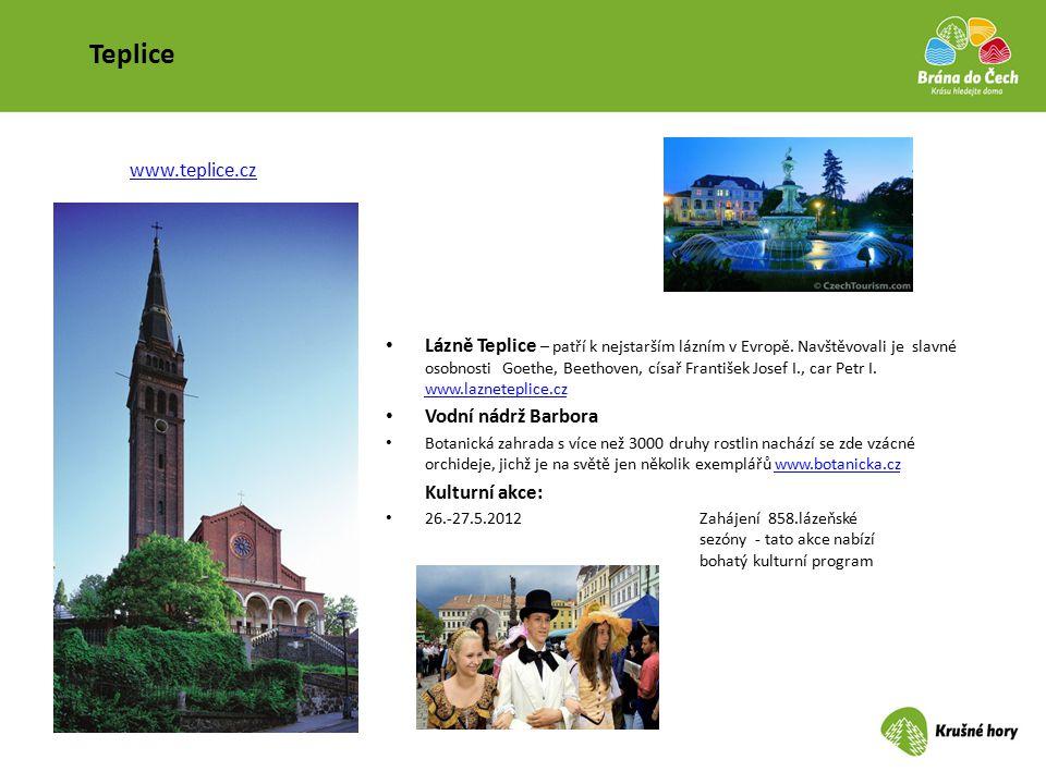 Teplice Lázně Teplice – patří k nejstarším lázním v Evropě. Navštěvovali je slavné osobnosti Goethe, Beethoven, císař František Josef I., car Petr I.