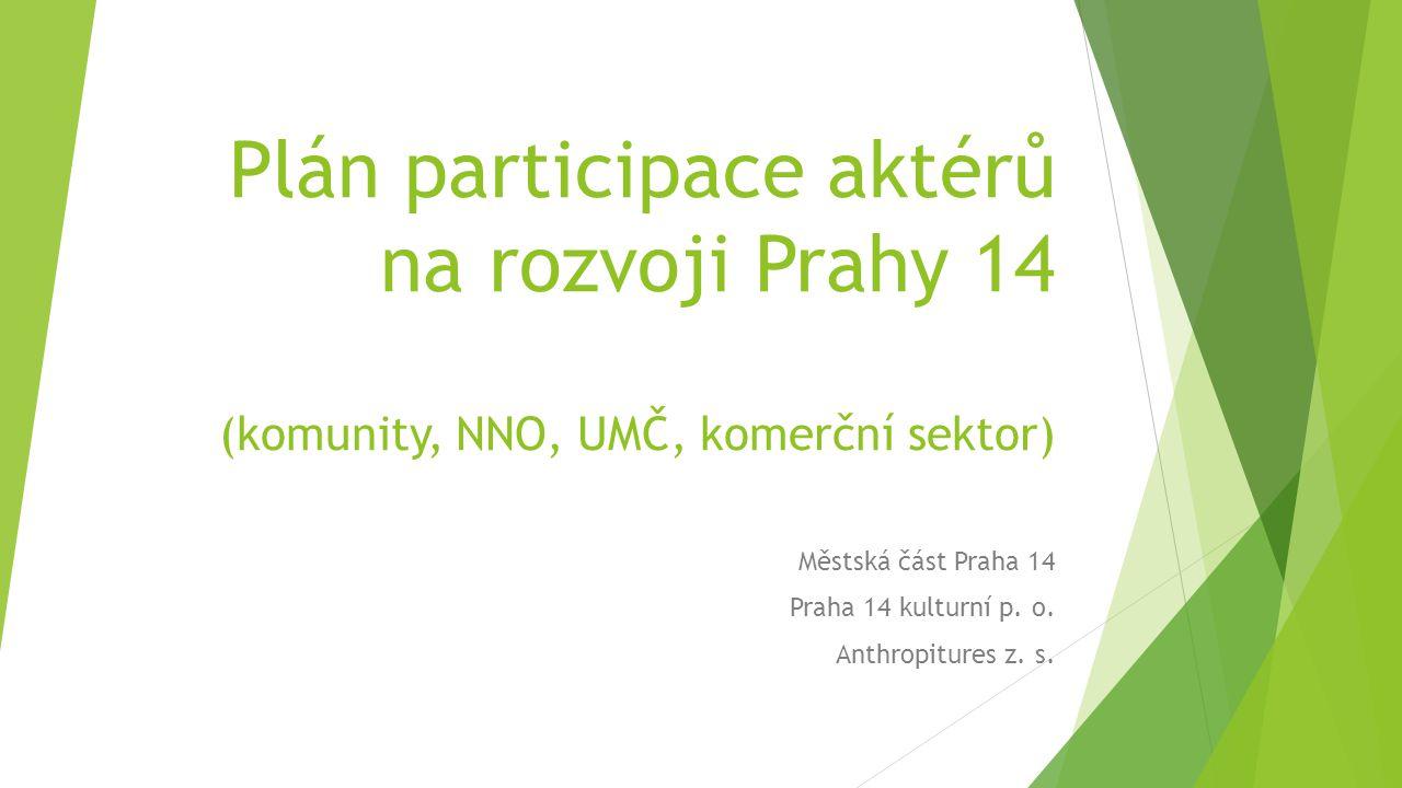 Plán participace aktérů na rozvoji Prahy 14 (komunity, NNO, UMČ, komerční sektor) Městská část Praha 14 Praha 14 kulturní p.