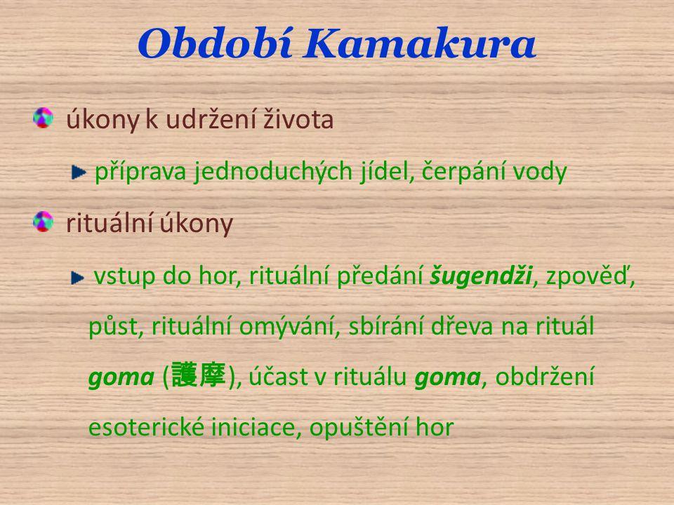 Období Kamakura úkony k udržení života příprava jednoduchých jídel, čerpání vody rituální úkony vstup do hor, rituální předání šugendži, zpověď, půst, rituální omývání, sbírání dřeva na rituál goma ( 護摩 ), účast v rituálu goma, obdržení esoterické iniciace, opuštění hor
