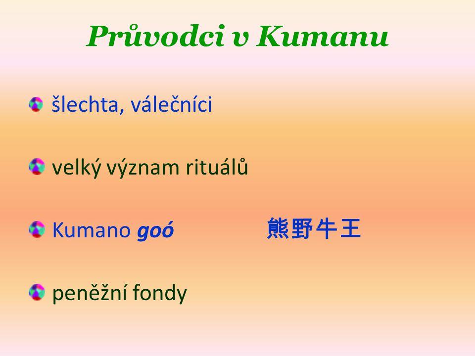 Průvodci v Kumanu šlechta, válečníci velký význam rituálů Kumano goó 熊野牛王 peněžní fondy