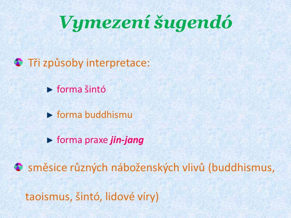 Vymezení šugendó Tři způsoby interpretace: forma šintó forma buddhismu forma praxe jin-jang směsice různých náboženských vlivů (buddhismus, taoismus, šintó, lidové víry)