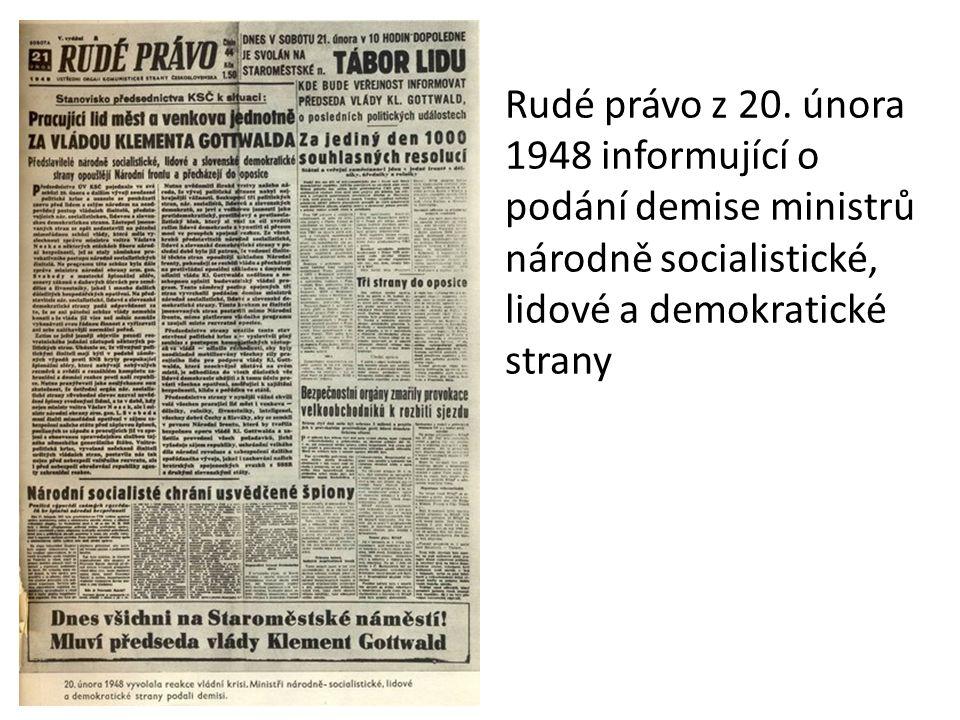 Rudé právo z 20. února 1948 informující o podání demise ministrů národně socialistické, lidové a demokratické strany