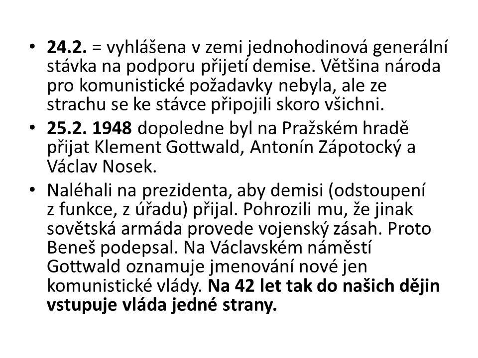 24.2. = vyhlášena v zemi jednohodinová generální stávka na podporu přijetí demise. Většina národa pro komunistické požadavky nebyla, ale ze strachu se