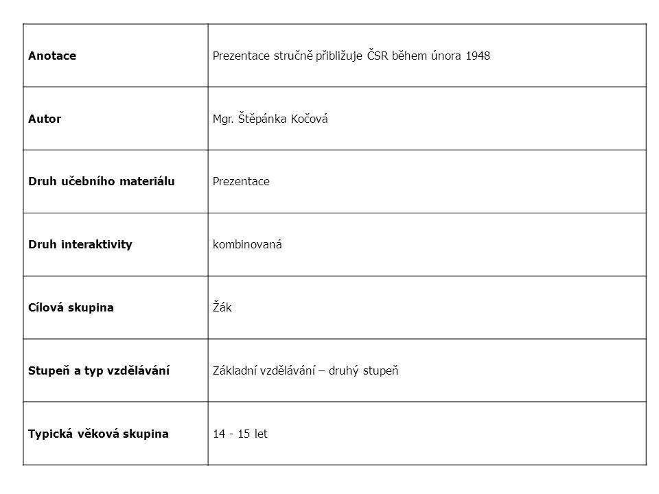 AnotacePrezentace stručně přibližuje ČSR během února 1948 AutorMgr. Štěpánka Kočová Druh učebního materiáluPrezentace Druh interaktivitykombinovaná Cí