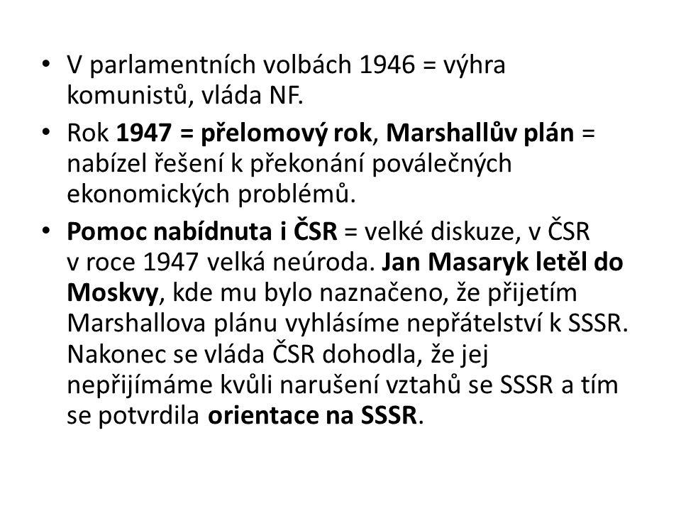 V parlamentních volbách 1946 = výhra komunistů, vláda NF. Rok 1947 = přelomový rok, Marshallův plán = nabízel řešení k překonání poválečných ekonomick