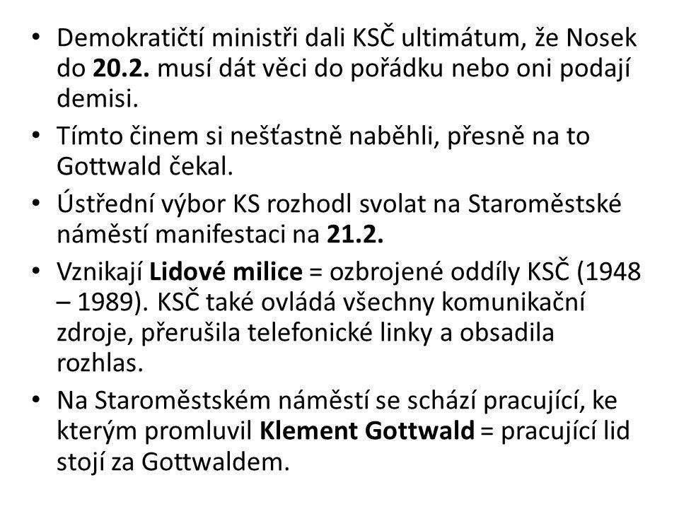Demokratičtí ministři dali KSČ ultimátum, že Nosek do 20.2.