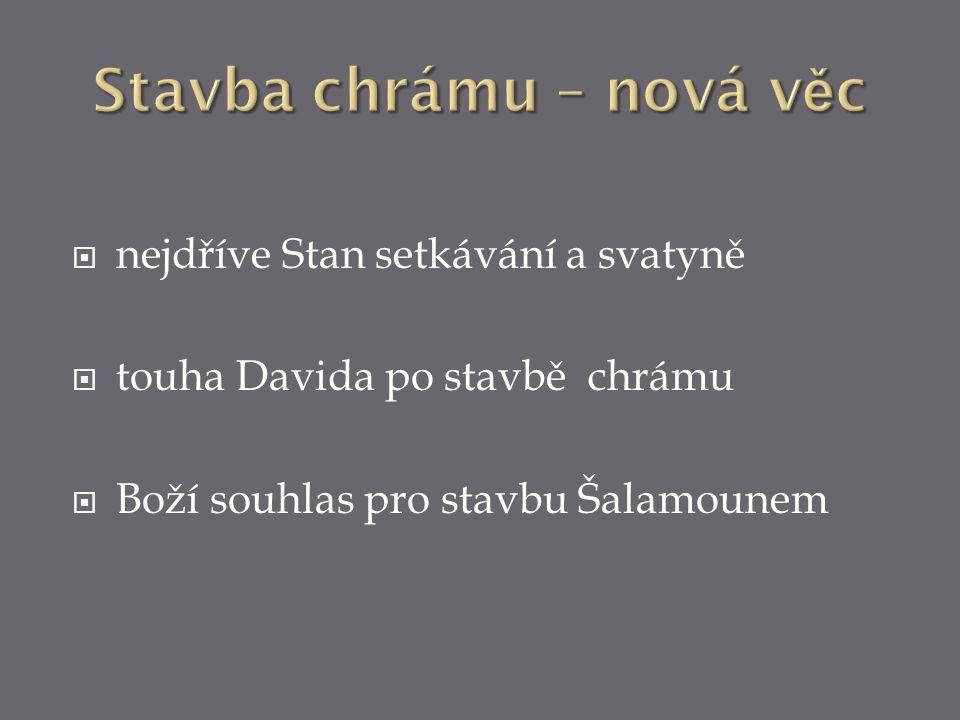  nejdříve Stan setkávání a svatyně  touha Davida po stavbě chrámu  Boží souhlas pro stavbu Šalamounem