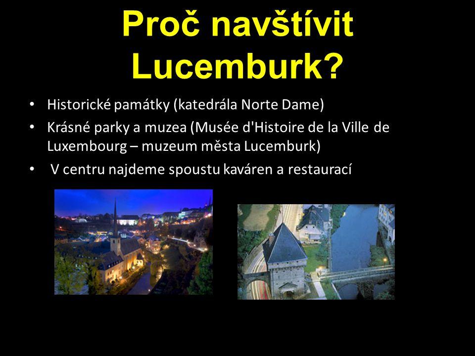 Proč navštívit Lucemburk? Historické památky (katedrála Norte Dame) Krásné parky a muzea (Musée d'Histoire de la Ville de Luxembourg – muzeum města Lu