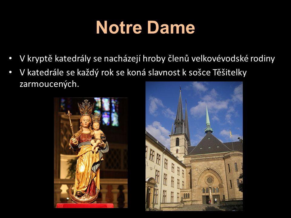 Notre Dame V kryptě katedrály se nacházejí hroby členů velkovévodské rodiny V katedrále se každý rok se koná slavnost k sošce Těšitelky zarmoucených.
