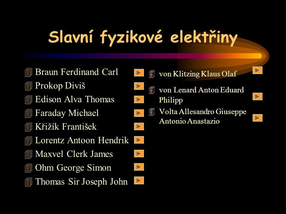 Slavní fyzikové elektřiny 4Braun Ferdinand Carl 4Prokop Diviš 4Edison Alva Thomas 4Faraday Michael 4Křižík František 4Lorentz Antoon Hendrik 4Maxvel C