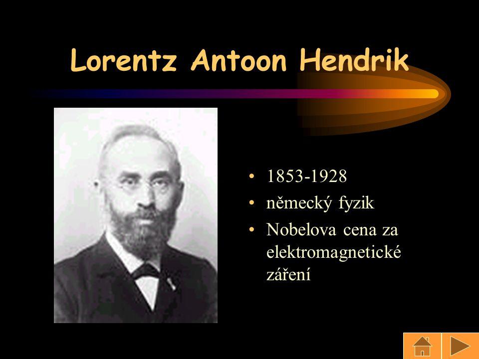 Lorentz Antoon Hendrik 1853-1928 německý fyzik Nobelova cena za elektromagnetické záření