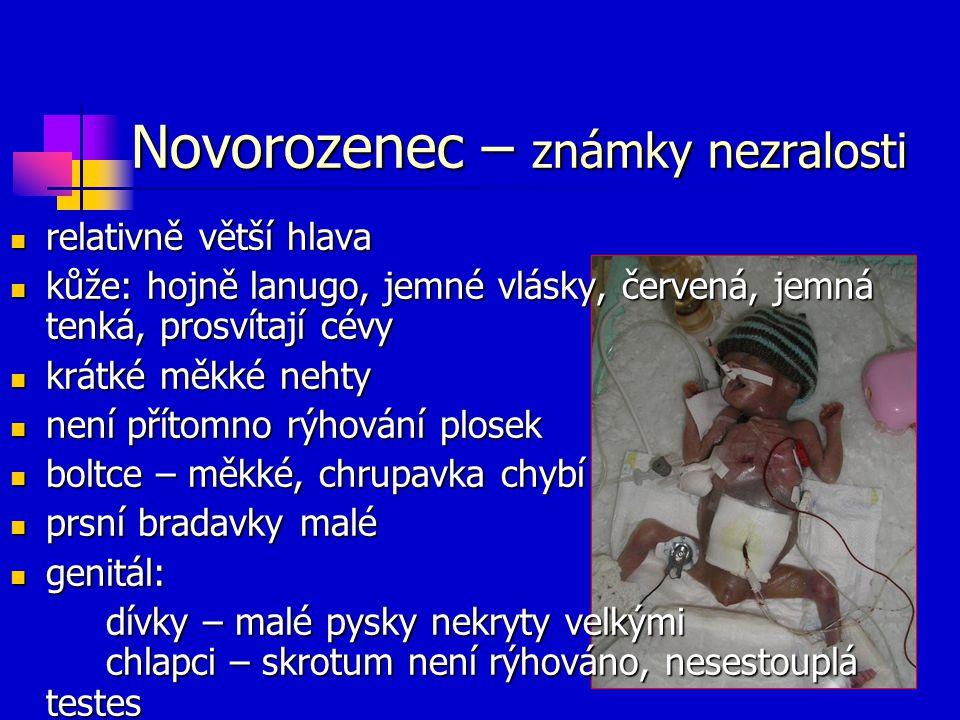 Novorozenec – známky nezralosti relativně větší hlava relativně větší hlava kůže: hojně lanugo, jemné vlásky, červená, jemná tenká, prosvítají cévy ků