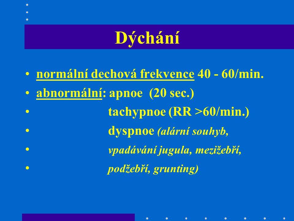 Dýchání normální dechová frekvence 40 - 60/min. abnormální: apnoe (20 sec.) tachypnoe (RR >60/min.) dyspnoe (alární souhyb, vpadávání jugula, mezižebř