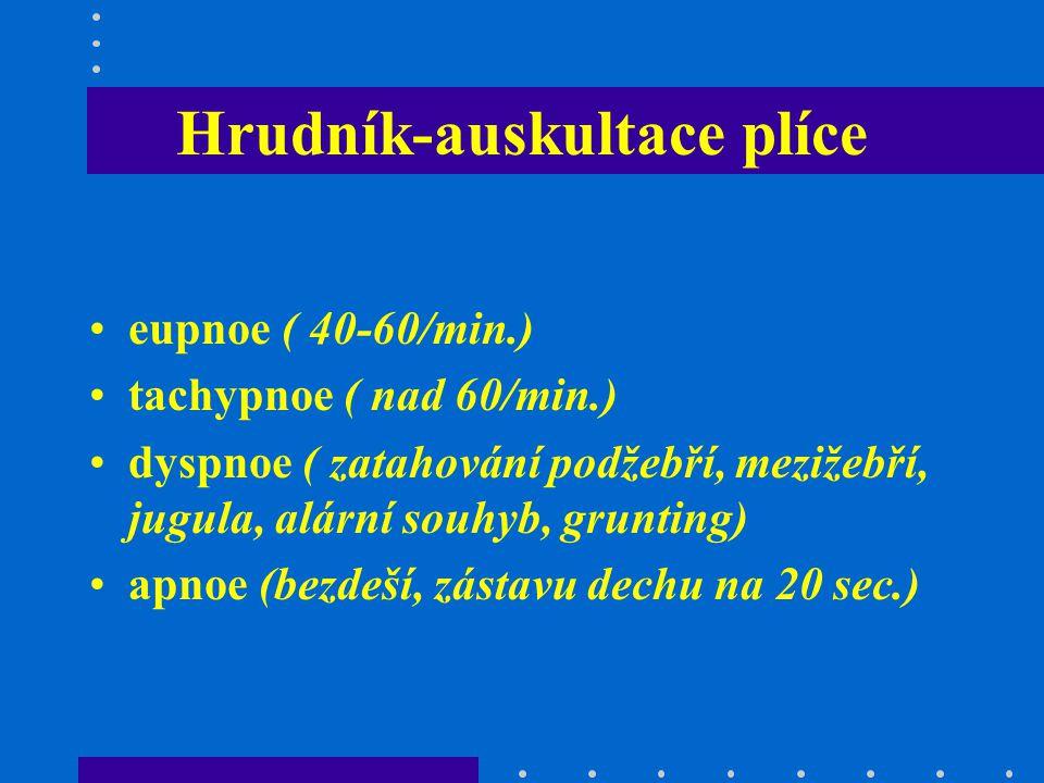 Hrudník-auskultace plíce eupnoe ( 40-60/min.) tachypnoe ( nad 60/min.) dyspnoe ( zatahování podžebří, mezižebří, jugula, alární souhyb, grunting) apno
