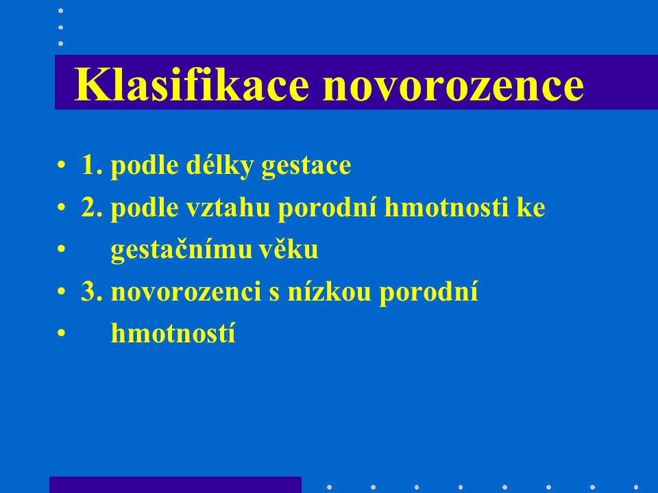 Klasifikace novorozence 1. podle délky gestace 2. podle vztahu porodní hmotnosti ke gestačnímu věku 3. novorozenci s nízkou porodní hmotností