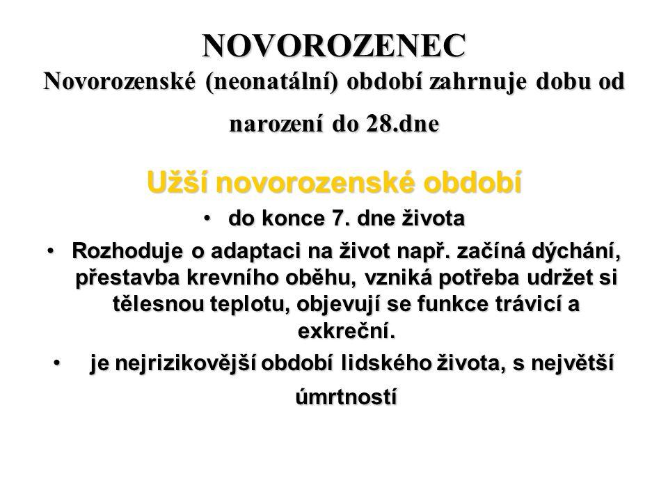 NOVOROZENEC Novorozenské (neonatální) období zahrnuje dobu od narození do 28.dne Užší novorozenské období do konce 7. dne životado konce 7. dne života