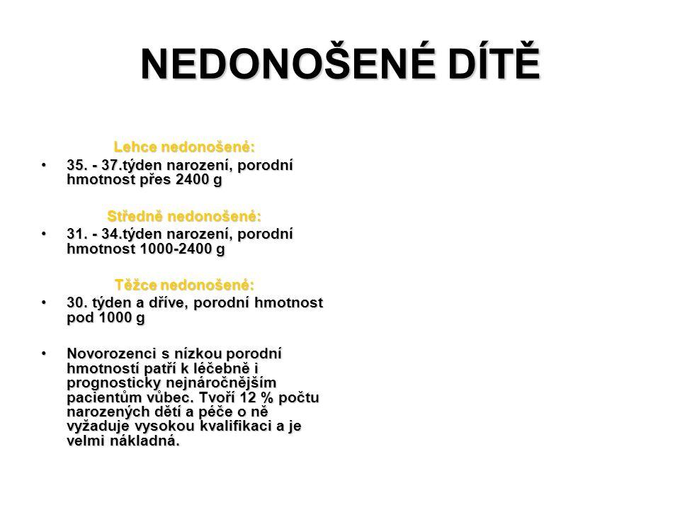 NEDONOŠENÉ DÍTĚ Lehce nedonošené: 35. - 37.týden narození, porodní hmotnost přes 2400 g35. - 37.týden narození, porodní hmotnost přes 2400 g Středně n